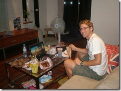 Taiwan - Tainan - eating night market goodies in peace at home