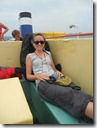 Indonesia - A rucksack back rest on a boat!