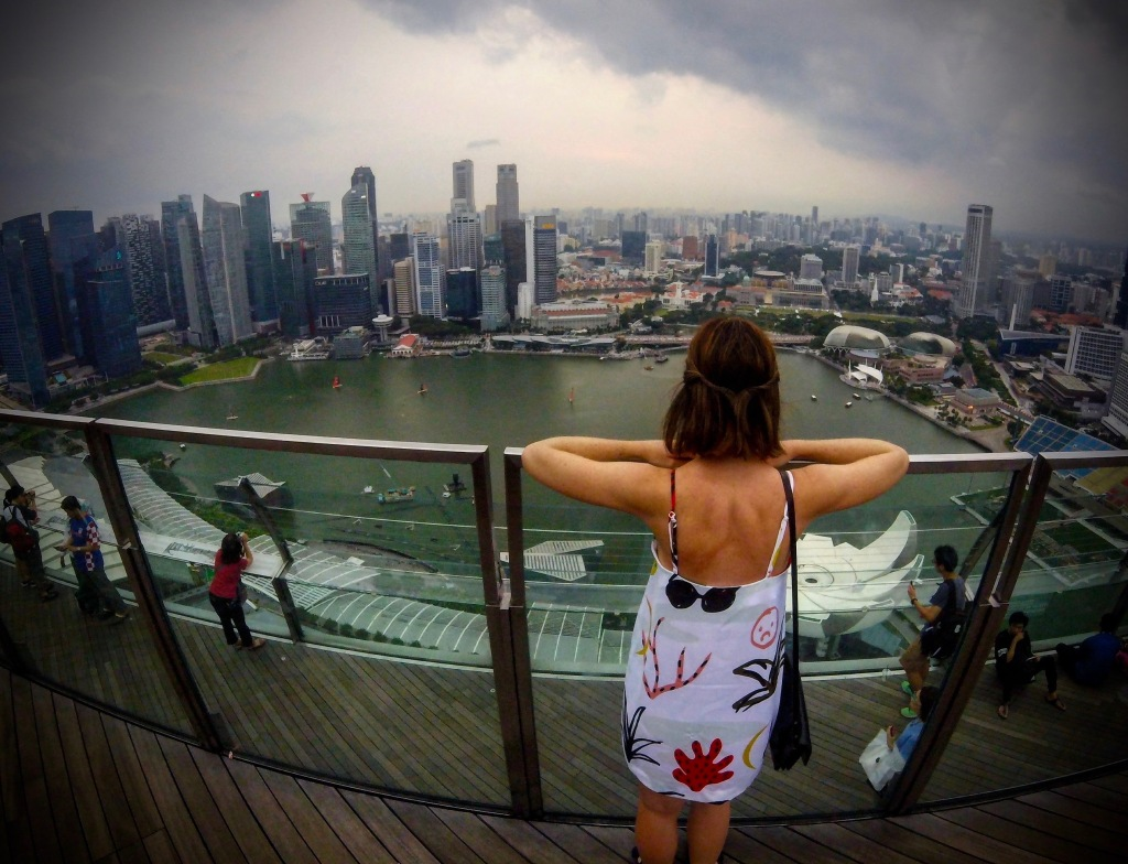 Looking down on to Singapore from the Marina Bay Sands observation deck.