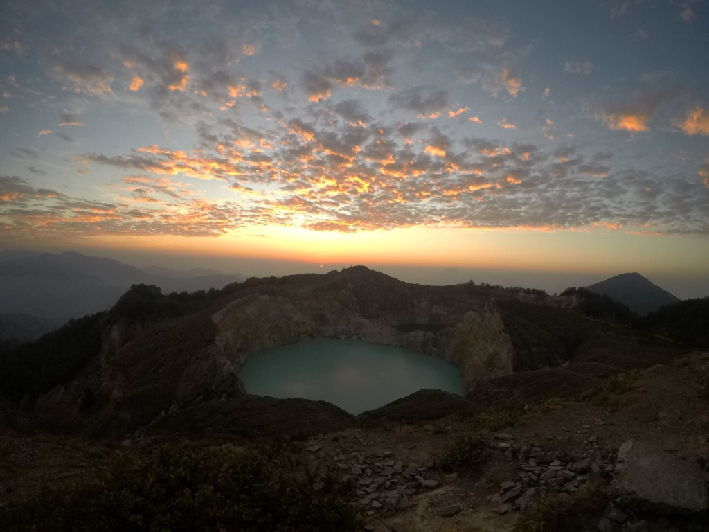 sunrise over the crater lake
