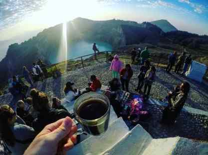 A glorious coffee location! What a view with some much needed caffeine warmth!