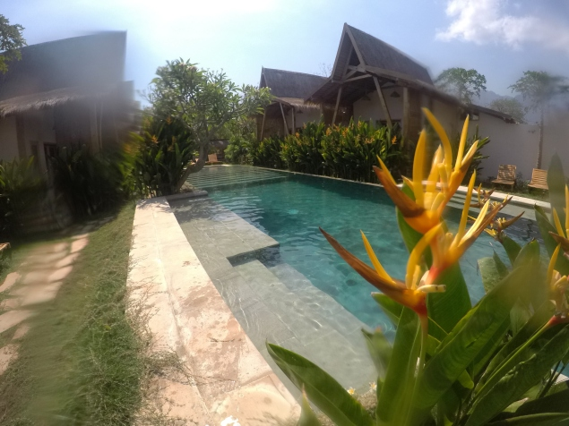 a long swimming pool located inbetween four wooden bungalows